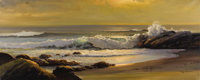 ROBERT WOOD (American 1889-1979) Laguna Beach Oil on canvas 23-3/4 x 59 inches (60.3 x 149.9 cm) Signed lower right