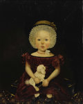 Antiques:Folk Art, Superb Large Example of Early American Regional Folk ArtPortraiture Oil on canvas, depicting a young child clutching awhee...