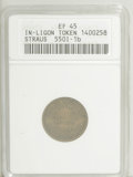 Civil War Merchants: , 1863 Straus Brothers, Ligonier, IN, XF45 ANACS, Fuld-IN550I-1b,R.6, an olive-brown piece with faint reverse marks at 4:30, ...(Total: 3 tokens)