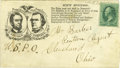 Political:Small Paper (pre-1896), Rare Postally-Used 1864 Lincoln & Johnson Campaign Envelope.Postally-used examples of these Civil War envelopes are always ...
