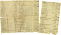 "Antiques:Black Americana, Early Estate Auction Record Itemizing Slave. Manuscript document,six pp., 7.75"" x 13"", n.p., n.d. This is an early nineteen..."