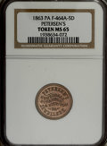 Civil War Merchants: , 1863 Petersen's Jewellers, Honesdale, PA, Fuld-PA-464A-5d, R.8,MS65 NGC. Copper-nickel. A superbly struck example with proo...