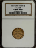 Civil War Merchants: , 1860 T. Racek, Watertown, WI, MS64 NGC. Fuld-WI920M-1b, R.8. Amagnificent yellow-gold near-Gem of this scarce and desirable...