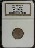 Civil War Patriotics: , 1863 Civil War Token, Fuld 1/229D, R.7, MS65 NGC. A nice off-metalexample that is fully struck in copper-nickel. Most off-m...