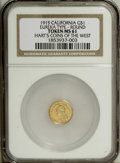 California Gold Charms: , 1915 Eureka Gold Token MS61 NGC. Gold dollar size. An entry in Hart's Coins of the Golden West series, which were ultimately...