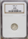 Patterns: , 1869 1C One Cent, Judd-666, Pollock-742, R.6, PR65 NGC. The obversedepicts Liberty wearing a coronet inscribed LIBERTY. Ar...