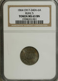 Civil War Merchants: , 1863 Petersen's Jewellers, Honesdale, PA, Fuld-PA-464A-2e, R.9,MS63 NGC. White metal. An additional Uncirculated token issu...