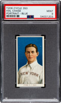 Baseball Cards:Singles (Pre-1930), 1909-11 T206 Cycle 350 Hal Chase (Portrait-Blue) PSA Mint 9 - Pop Two, None Higher! ...