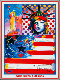 "God Bless America by Peter Max (Peter Max, 2001). Autographed Art Print (18"" X 24"") with Signed Letter (8.5&qu..."