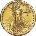 High Relief Double Eagles, 1907 $20 High Relief, Flat Rim -- Reverse Rim Filed -- NGC Details. Unc....