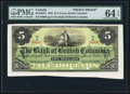 Canadian Currency, Victoria, BC- Bank of British Columbia $5 Jan. 1, 1894 Ch. #50-16-02P Face Proof.. ...
