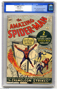 The Amazing Spider-Man #1 (Marvel, 1963) CGC GD/VG 3.0 Off-white pages. Spider-Man's origin is retold. First Fantastic F...