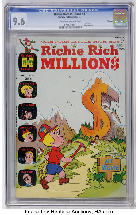 Richie Rich Millions #47 File Copy (Harvey, 1971) CGC NM+ 9.6 Off-white to white pages....