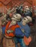Fine Art - Work on Paper:Watercolor, Philip Evergood (American, 1901-1973). The Cheering Crowd.Mixed media on paper laid on board. 25-3/4 x 20 inches (65.4 ...