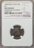 Bust Dimes, 1828 10C Small Date, Square Base 2, JR-1, R.2, -- ImproperlyCleaned -- NGC Details. UNC. NGC Census: (1/21). PCGS Po...