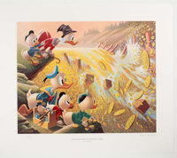 Carl Barks Dam Disaster at Money Lake Signed Limited Edition Lithograph Print #33/345 (Another Rainbow, 1986)