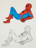 Animation Art:Production Cel, Spider-Man Production Cel and Animation Drawing with RelatedNewspaper (Marvel/Krantz Animation, 1968-2003).... (Total: 3 Items)