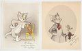 Animation Art:Limited Edition Cel, Tom and Jerry Publicity Card Group of 2 with Animation Notes(MGM, c. 1950s).... (Total: 3 Items)