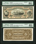 Canadian Currency, Halifax, NS- Merchants' Bank of Halifax $5 July 1, 1880 Ch. # 465-20-02P Face and Back Proofs.. ... (Total: 2 notes)