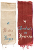 Political:Ribbons & Badges, Grover Cleveland and James G. Blaine: Unusual Pair of Woven Silk Ribbons.... (Total: 2 Items)