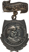 """Political:Ferrotypes / Photo Badges (pre-1896), Hayes & Wheeler"""" """"Our Choice"""" German Silver Jugate Badge...."""