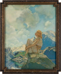 """Advertising:Paper Items, Maxfield Parrish: """"Morning"""" Print in Original Frame...."""