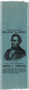 Political:Ribbons & Badges, Millard Fillmore: Choice Silk Portrait Ribbon....