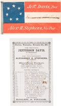 Political:Small Paper (pre-1896), Jefferson Davis: Ballot and Patriotic Flag Cover.... (Total: 2Items)