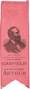 Political:Ribbons & Badges, James A. Garfield: Unusual Portrait Ribbon in Deep Rose....