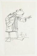 Animation Art:Production Drawing, Kermit the Frog Original, Signed Sesame Street Children'sBook Concept Sketch (Jim Henson Publishing, 1999)....