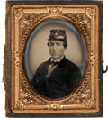 Photography:Ambrotypes, Stephen A. Douglas: Ambrotype of Supporter Sporting a DouglasFerrotype Badge....