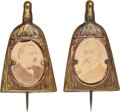 Political:Ferrotypes / Photo Badges (pre-1896), Grover Cleveland and Benjamin Harrison: Whisk Broom Cardboard Stickpins.... (Total: 2 Items)