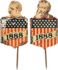 Political:Ferrotypes / Photo Badges (pre-1896), Grover Cleveland and Benjamin Harrison: Pop-Up Mechanical Shield Stickpins.... (Total: 2 Items)