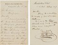 "Autographs:Military Figures, Alexander Gardner: ""Customer Satisfaction"" Letters From WilliamTecumseh Sherman and John Bingham.... (Total: 2 Items)"