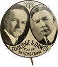 """Political:Pinback Buttons (1896-present), Coolidge & Dawes: Rare and Desirable """"Nation's Cause"""" Jugate...."""