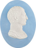 Political:3D & Other Display (pre-1896), George Washington: Oval Jasper Ware Wedgwood Plaque....