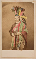 Photography:CDVs, Native Americans: CDV of Man Wearing Headdress and Indian Peace Medal....