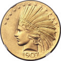 Indian Eagles, 1907 $10 Wire Rim MS67+ NGC. CAC. ...