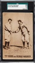 Baseball Cards:Singles (Pre-1930), 1910 PC796 Sepia Post Card Ty Cobb & Honus Wagner SGC 20 Fair1.5....