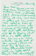 Baseball Collectibles:Others, 1957 Ty Cobb Handwritten Signed Letter with Stock Advice. ...