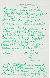 1957 Ty Cobb Handwritten Signed Letter with Stock Advice