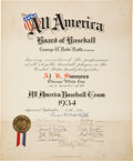 Baseball Collectibles:Others, 1934 Al Simmons All America Baseball Team Certificate Signed by Babe Ruth, PSA/DNA Gem Mint 10.. ...