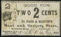 Obsoletes By State:New Hampshire, Manchester, NH - Page & Martin's Meat and Grocery Store 2¢ Nov. 25, 1863. ...
