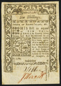 Colonial Notes:Rhode Island, Serial number 10,000 Rhode Island May 1786 6s Very Fine.. ...