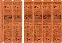 1925 World Series Game Seven Full Tickets Sheet of 6