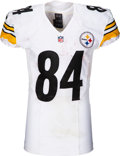 Football Collectibles:Uniforms, 2017 Antonio Brown Game Worn, Unwashed & Signed Pittsburgh Steelers Jersey - Photo Matched to 1/22 AFC Championship Game!...