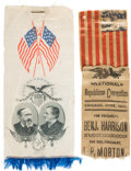 Political:Ribbons & Badges, Benjamin Harrison: Two Ribbons.... (Total: 2 Items)