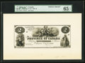 Canadian Currency, Province of Canada $2 10.1.1866 PC-3P Front Proof.. ...
