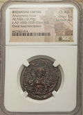 Ancients:Byzantine, Ancients: Anonymous. Class A3 (ca. AD 1020-1028). AE follis (27mm, 10.79 gm, 5h). NGC Choice AU 5/5 - 4/5....