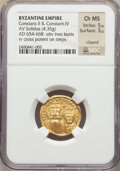 Ancients:Byzantine, Ancients: Constans II Pogonatus (AD 641-668), with Constantine IV(AD 654-685). AV solidus (20mm, 4.35 gm, 6h). NGC Choice MS 5/5 -3/5,...